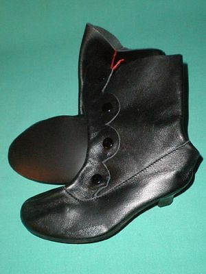 pair of doll boots black/ real leather/ Victorian style