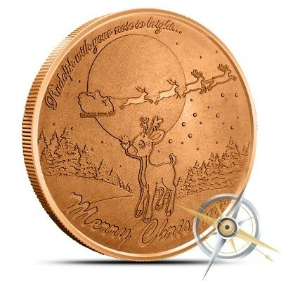 1 OZ .999 Fine Copper Rudolph Reindeer Round Bullion (Christmas Stocking) Coin