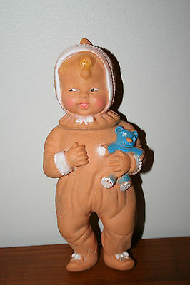 Vintage Rubber Doll Squeak Doll Small Baby Doll Soft Air Doll V Mark On Back