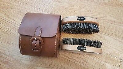 Quality Horse Brushes In Leather Case