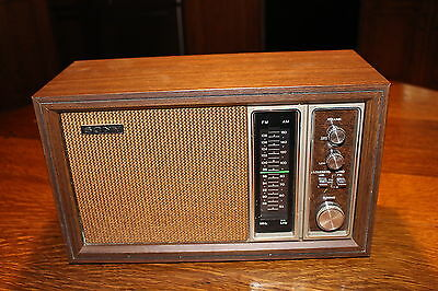 Vintage Sony AM FM Radio Eleven Transistors Two Band Wood Case Made  in Korea