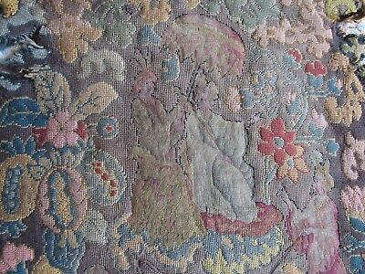 Antique Wool Work Embroidery needlepoint tapestry piece