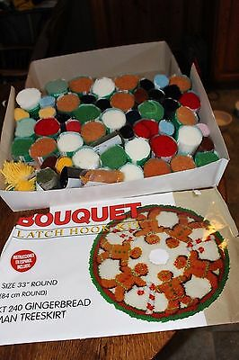 "Bouquet Latch Hook Kit Large Gingerbread Man Christmas Tree Skirt 33"" Christmas"