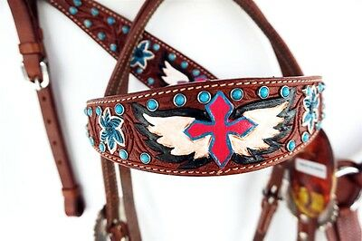 Cross & Wings Headstall Leather Western Barrel Horse Show Bridle Breastcollar