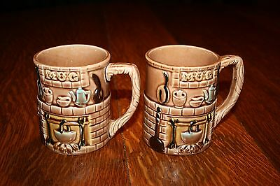 Vintage Coffee Cups  made in Japan Two Dimensional Pattern Two Matching Mugs