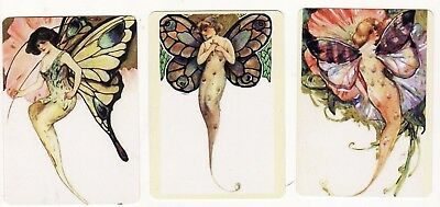 FANTASY LADIES FAIRIES  BUTTERFLY WINGS x 3 -  MODERN WIDE Single Playing Cards