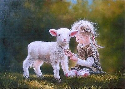 Beautiful Little Girl Kids Children & Sheep Pets Lamb. modern postcard Leonovich