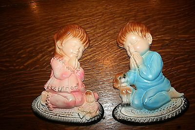 Vintage Chalkware Little Boy & Girl Bedtime Praying Childs Wall Decor Plaques