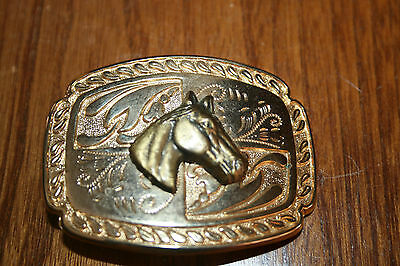Ladies Horse Belt Buckle Gold Tone And Brass Tone Looks New