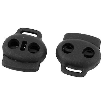20pcs Dual Holes Spring Loaded Cord Lock Stopper Toggle Fastener Black I6T2 X1B6