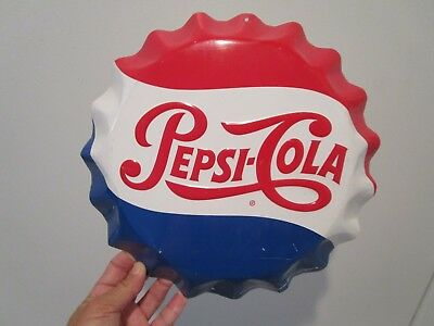 Pepsi Cola Soda Pop Bottle Cap Embossed Metal Sign By Stout 11 Inch Diameter