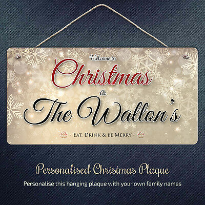 Personalised Christmas Family Sign - Welcome Plaque unique Gift Name Holly Xmas
