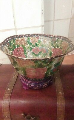 Vintage plique a jour oriental bowl. cut out cloissone with stand. stunning💗