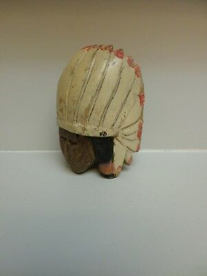 Antique Wood Carving Warrior Chief Head Vintage Painted Folk Art Headdress