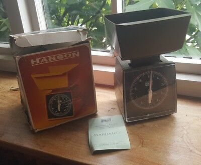 Hanson vintage retro weighing scales with original box and care leaflet