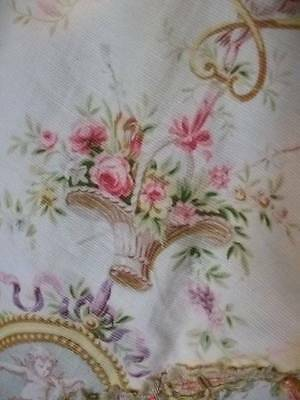 French Regency 19th Century Design Fabric.Cherubs & Garlands Of  Roses