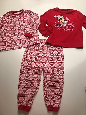 Girls Christmas Pyjamas 18-24 Months Minnie Disney Christmas Eve Box Festive red