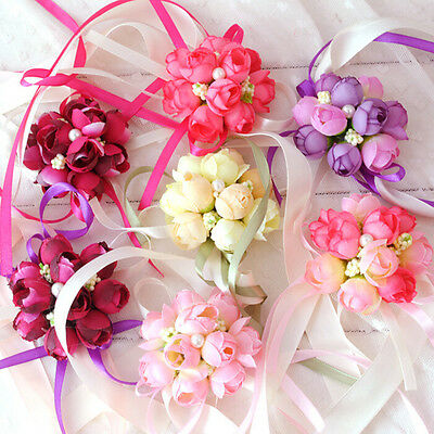 Beautiful Wrist Corsage Bracelet Bridesmaid Sisters Hand Flowers Wedding Party A