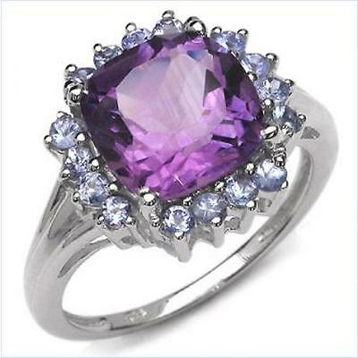 Bling! Amethyst & Tanzanite White Gold Rhodium Over Sterling Silver Ring Sz 7