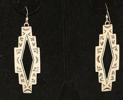 Earrings Southwestern Geometric Shaped Stamped Symbols Sterling Silver Diamond