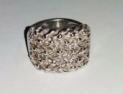 Sterling Silver 925 5 Row Shot And Chain / Keeper Ring