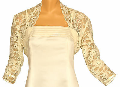 Ivory Lace 3/4 Sleeve Bolero Shrug Sizes 6-30