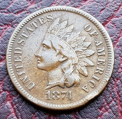 (T20) United States 1874 'indian Head' One Cent Coin