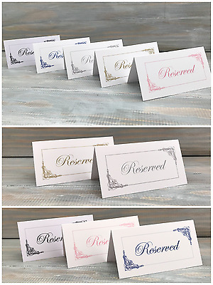 Wedding Reserved Place Cards Table Sign Tag Freestanding Shabby Chic Vintage