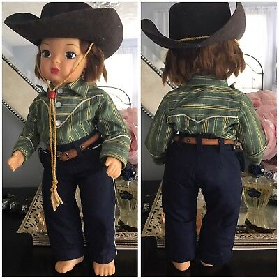 Vintage 50s Original Terri Lee Doll Dark Hair Cowgirl Outfit Hat Pearl Snaps