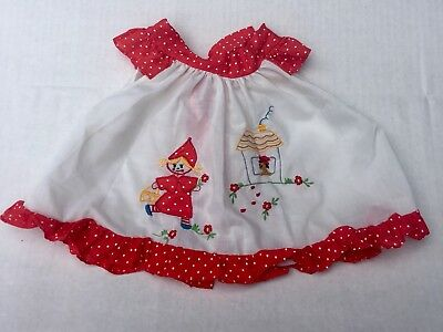 Vintage Baby Girl Polkadot Embroidered Tie Dress Top 6-9 Mos Celanese Fortrel