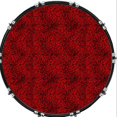 """Custom 22"""" Kick Bass Drum Head Graphical Image Front Skin Leopard Print Red"""