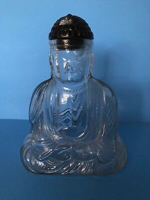 Antique Figural Glass Bottle Buddha w/ Lid Circa 1900-1920 FreeShipping