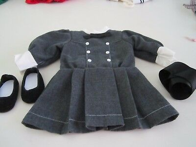American Girl SAMANTHA School Outfit Grey Dress Ribbon Shoes Original 90's