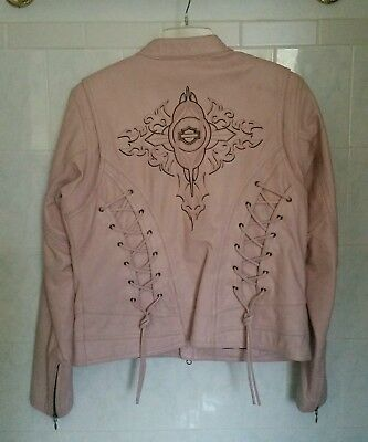 Womens Harley Davidson Embroidered Pink Leather Jacket Size XL
