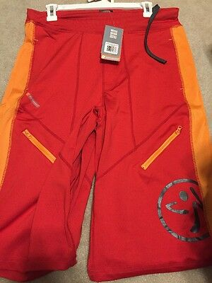 NWT Zumba Fitness Z Performance Men's Breakthru Cargo SHORTS Red Chinese Small