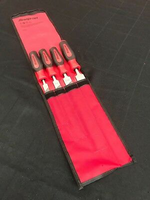 New Snap-On SGHBF300A 4 pc Instinct® Soft Grip Handle Mill File Set No Reserve!