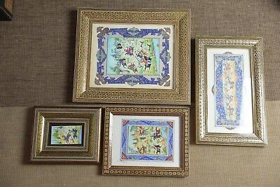 x 4 Persian Dear hunting pictures paintings