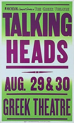 TALKING HEADS 1983 Boxing-Style CONCERT POSTER Greek Theatre LA Beautiful Cond