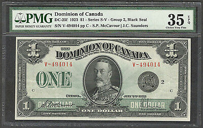 1923 $1.00 DC-25f PMG VF 35 EPQ Dominion of Canada BEAUTIFUL George V One Dollar