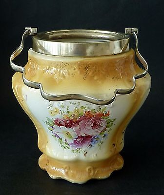Pretty ANTIQUE English biscuit barrel base only SHABBY CHIC ROSES c1910 vintage