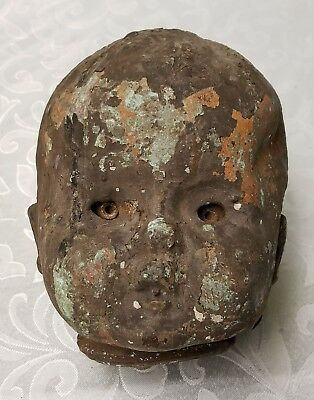 Antique Industrial Creepy Blazing Eye Mysterious Baby Doll Head Copper Mold