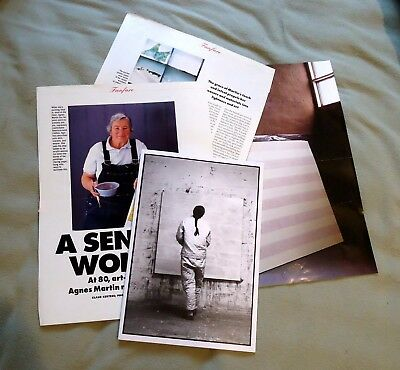Agnes Martin artist memorabilia clippings & exhibit announcement