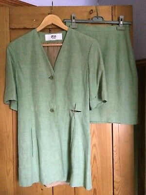 Vintage CRISCA pale green women's silk skirt suit, with waistcoat, size S (8-10)