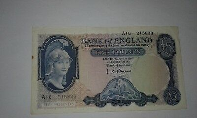 UK Great Britain Banknotes, England 5 Pounds O'Brien 1st Series 1957- VF+!