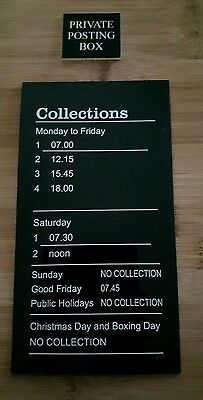 Royal Mail GPO EIIR Post Box Insert Collection Time plate & Private Posting Tab