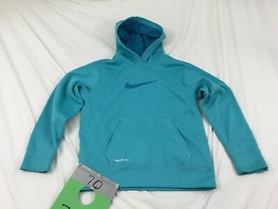 BOYS/GIRLS YOUTH NIKE DRI FIT -Fleece lined -THERMA FIT HOODIE SIZE M TEAL