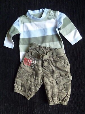 Baby clothes BOY 0-3m outfit Mothercare camouflage lined trousers/L/S stripe top