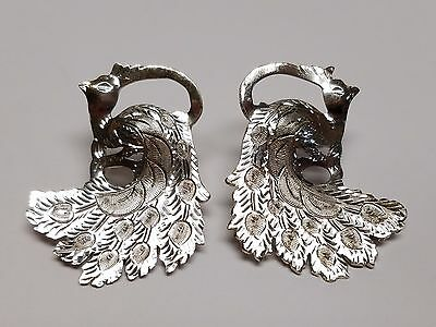 vintage HANDMADE PEACOCK Sterling Silver SCREWBACK EARRINGS ooak Spectacular 925