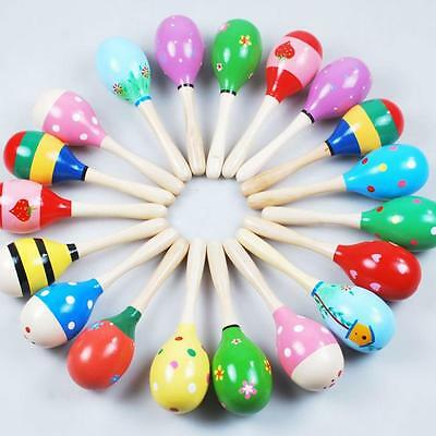 HOT Mini Wooden Ball Children Toys Percussion Musical Instruments Sand Hammer UK