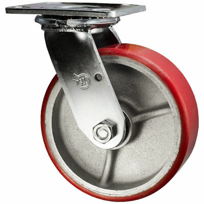 6 Inch Swivel Caster - Polyurethane Tread on Metal Core Wheel Service Caster